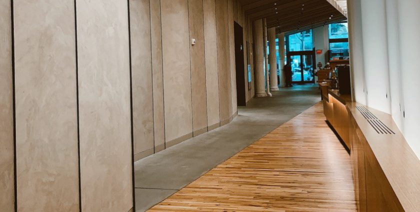 Laminate flooring outside of a commercial building